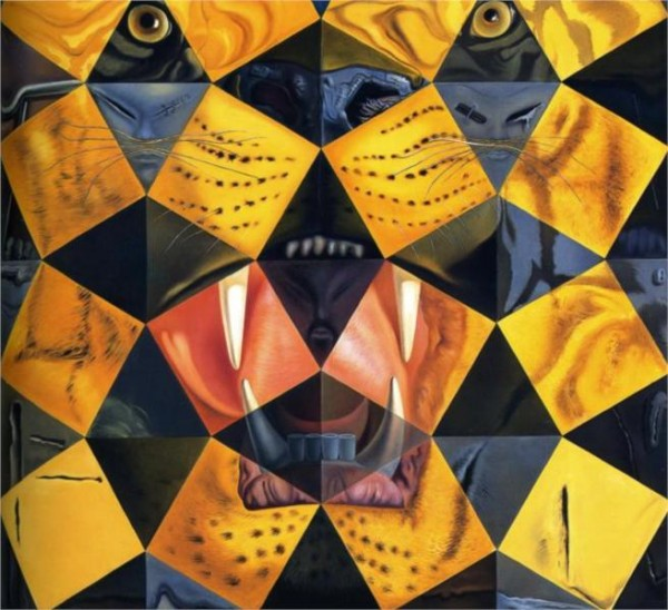 Fifty Abstract Paintings Which as Seen from Two Yards Change into Three Lenins Masquerading as Chinese and as Seen from Six Yards Appear as the Head of a Royal Bengal Tiger, by Dali