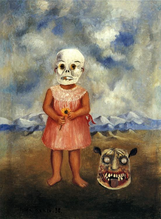 Girl with Death Mask (She Plays Alone), Frida Kahlo