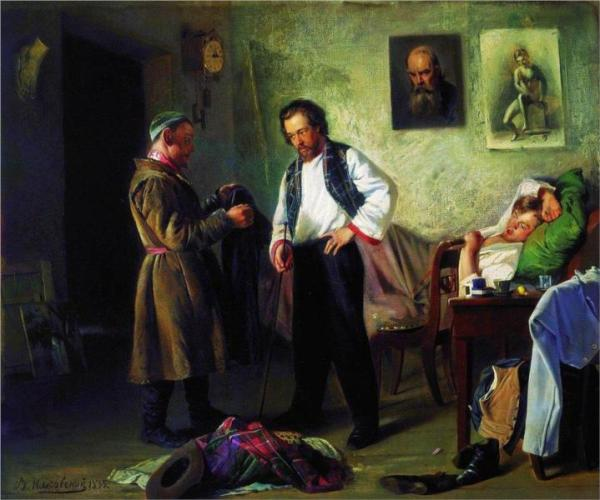 The artist, selling old stuff to Tatar (Artist's Studio), Vladimir Makovsky