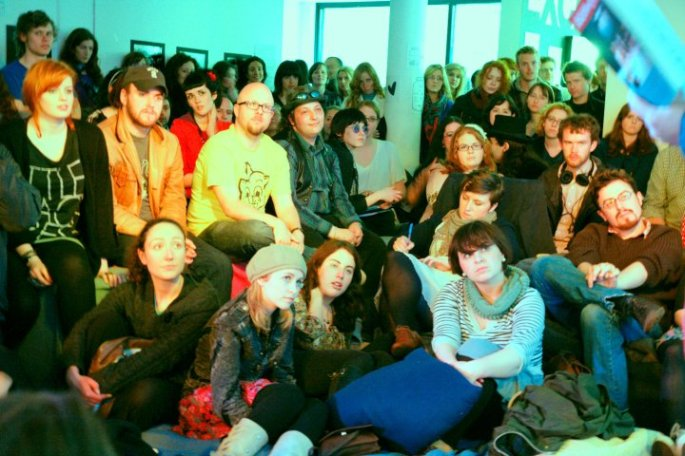 The audience at one of the early Milk & Cookies events in Exchange Dublin.