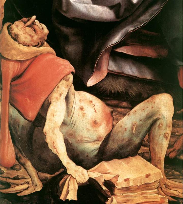 Suffering Man (detail from The Temptation of St. Anthony) by Matthias Grünewald